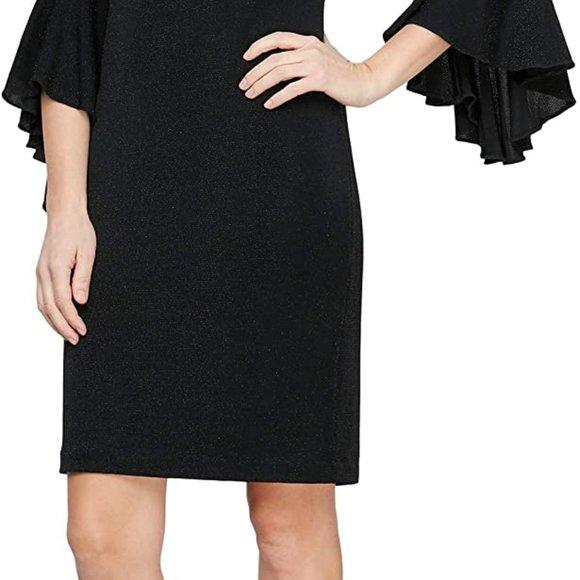 Black Women's Short Shift Dress with Embellished Illusion Detail Blac